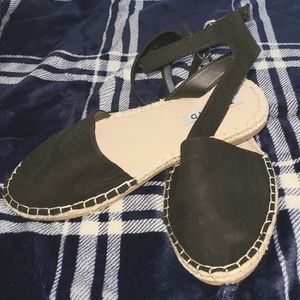 Black ankle strap espadrille flats